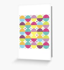 Retro,polka dots,big,cool,pattern,red,hot pink,yellow,orange,green,lime,purple Greeting Card