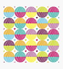 Retro,polka dots,big,cool,pattern,red,hot pink,yellow,orange,green,lime,purple Photographic Print
