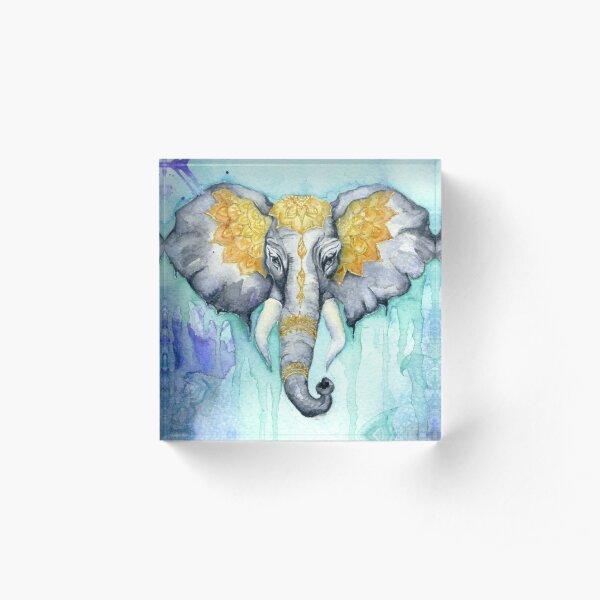 Hold Your Colour - Dreamy Elephant Illustration Acrylic Block