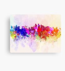 Doha skyline in watercolor background Canvas Print
