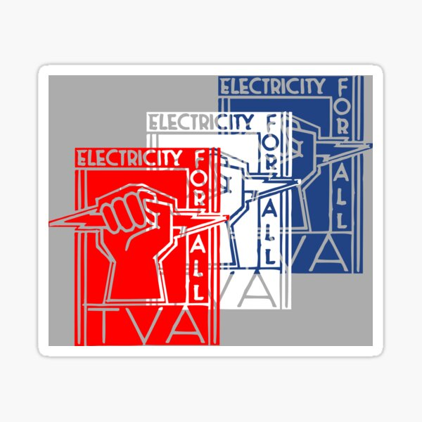 TVA-Tennessee Valley Authority-Patriotic New Deal Poster Sticker