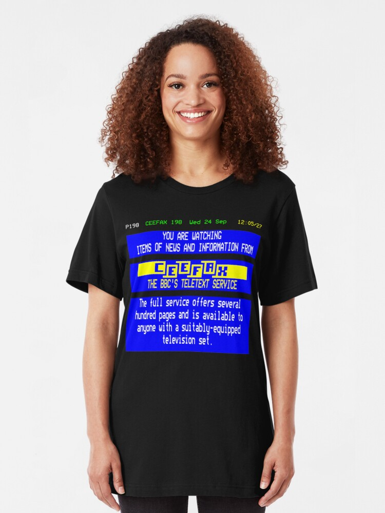 Alternate view of NDVH Pages From Ceefax Slim Fit T-Shirt