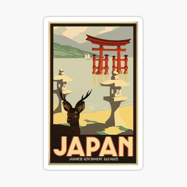 Vintage Travel Japan Poster Pegatina