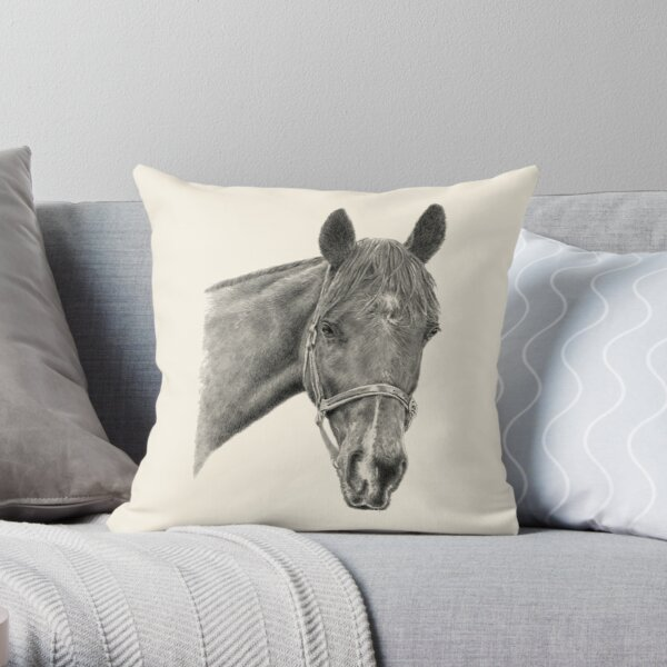 Hinley the Thoroughbred Horse Throw Pillow