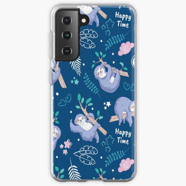 Sloths tropical elements cute pattern Samsung Galaxy Soft Case