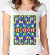 """STAINED GLASS ABSTRACT PSYCHEDELIC"" Whimsical Art Print Women's Fitted Scoop T-Shirt"