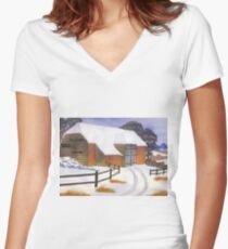 Barn in Snow Women's Fitted V-Neck T-Shirt