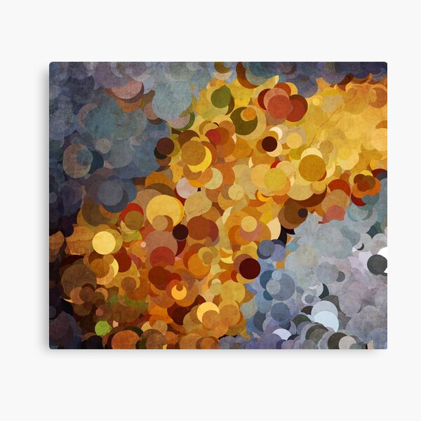 Abstraction #082 Blue Gold Bubbles Canvas Print