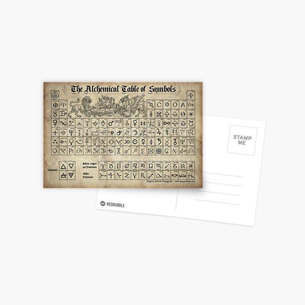 Alchemical Table of Symbols Postcard