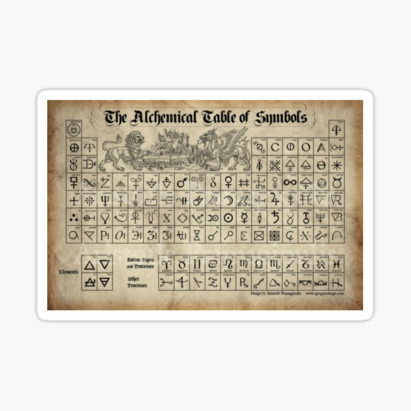 Alchemical Table of Symbols Sticker