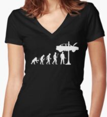 Evolution Of Man and Mechanic Funny Shirt Women's Fitted V-Neck T-Shirt