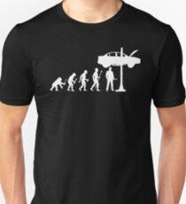 Entwicklung des Mannes und des Mechaniker-lustigen Hemdes Slim Fit T-Shirt