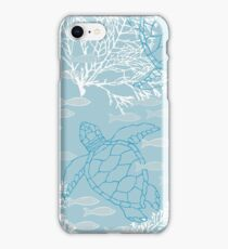 Sea Turtles and Fish in Soft Blue Hues with White Kelp iPhone Case/Skin