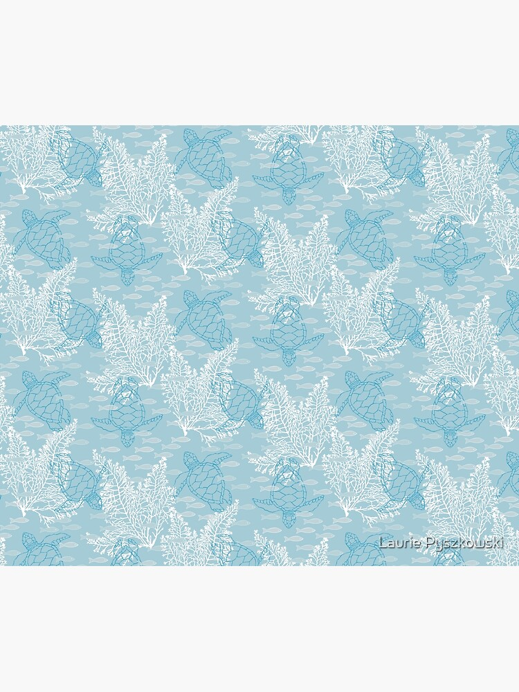 Sea Turtles And Fish In Soft Blue Hues With White Kelp Duvet Cover By Lauriepysz Redbubble