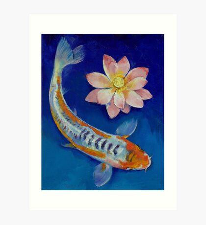 Koi Fish and Lotus Art Print