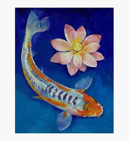Koi Fish and Lotus Photographic Print