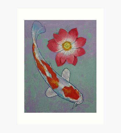 Koi and Lotus Art Print