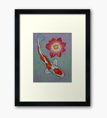 Koi and Lotus Framed Print