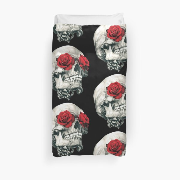 Rose Eye Skull Duvet Cover