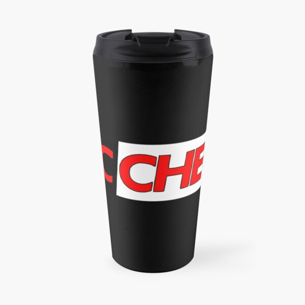 Mic Check Slogan - Black/Red Travel Mug