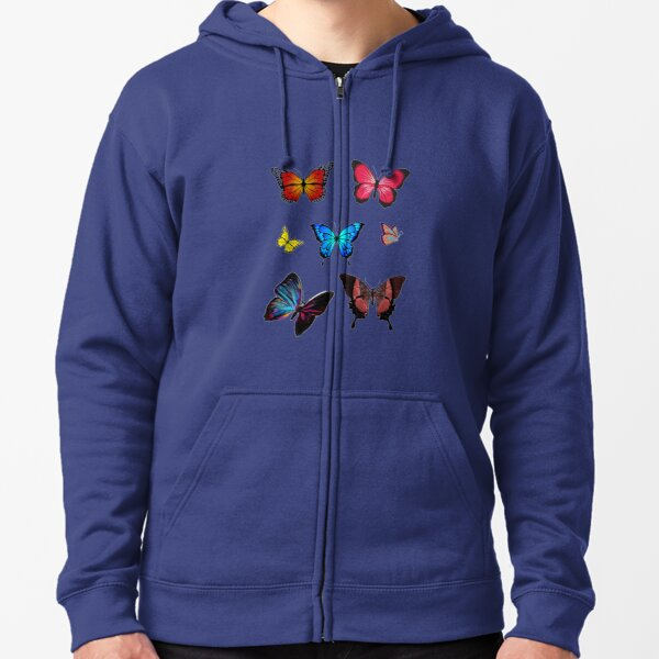 Easily distracted by butterfly Zipped Hoodie