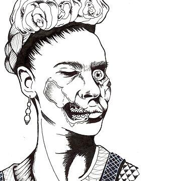 Zombie Frida B&W by drogelart