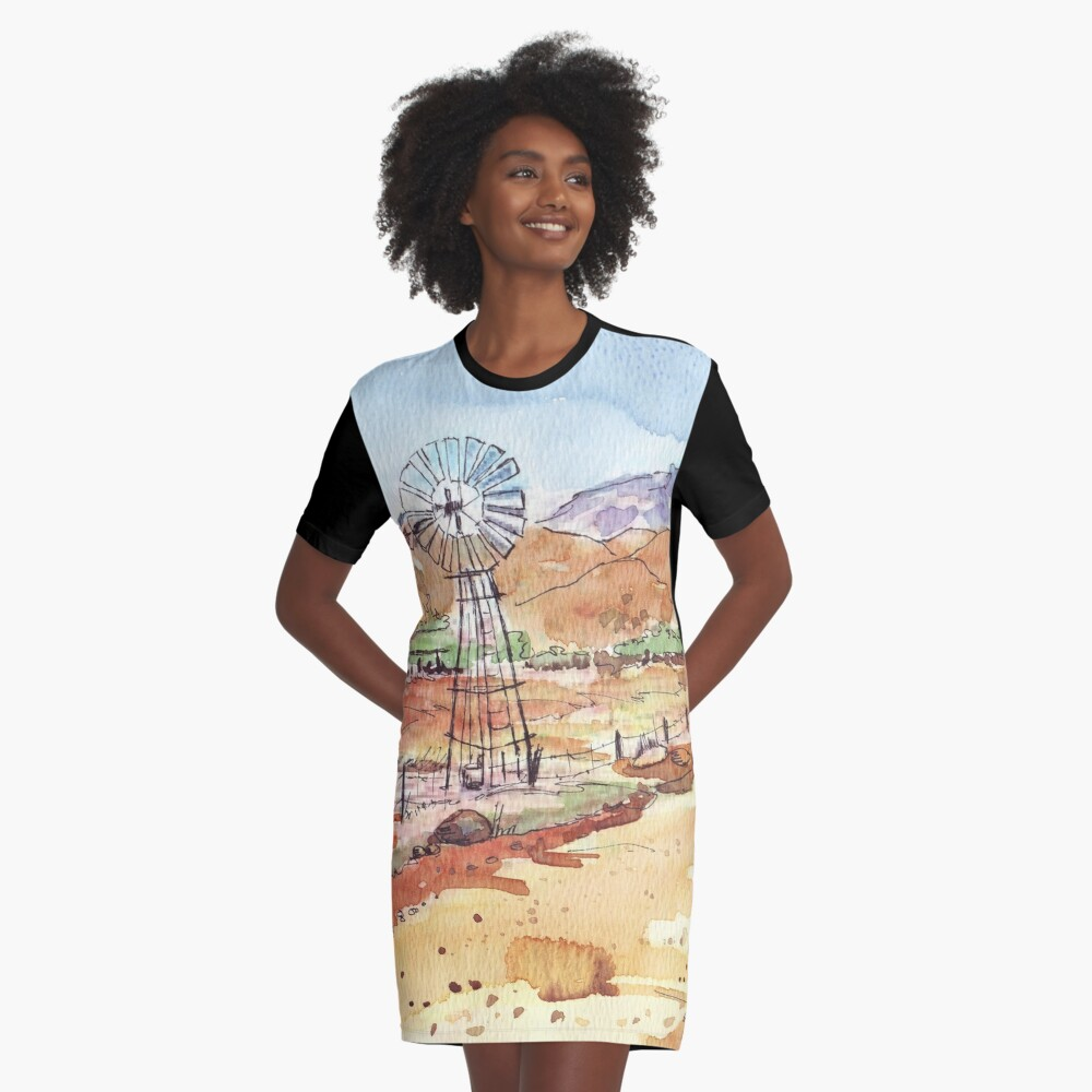 Windpomp in the Karoo Graphic T-Shirt Dress Front