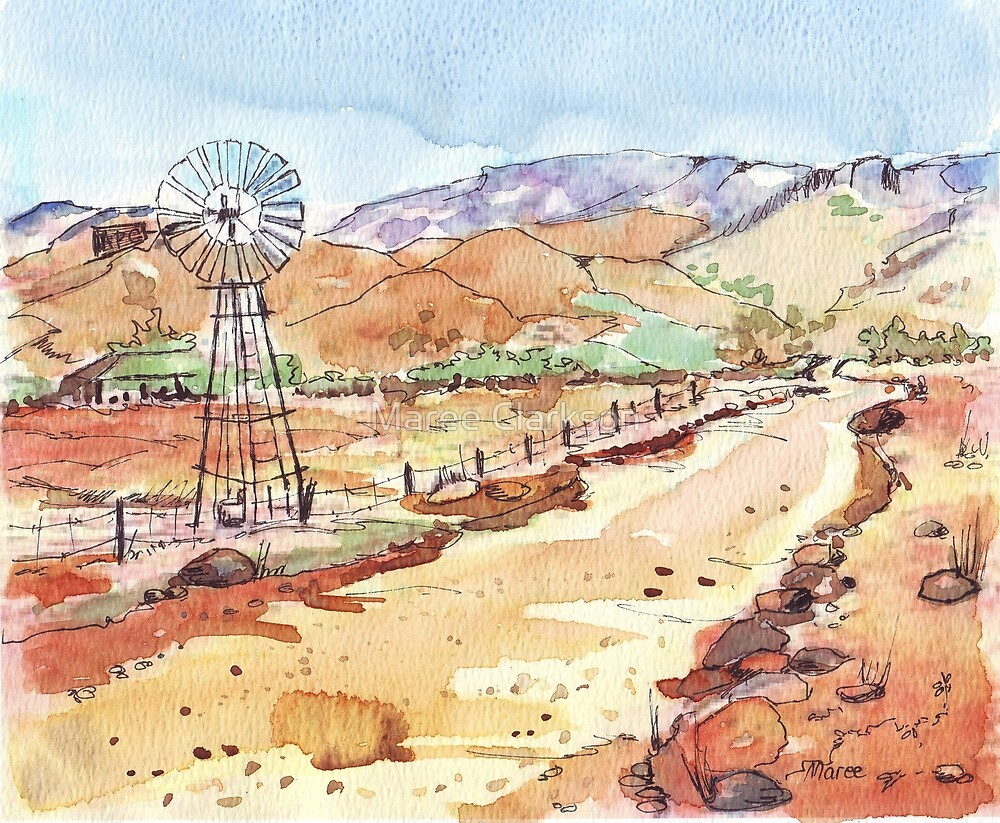 Windpomp in the Karoo by Maree Clarkson
