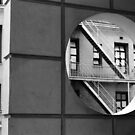 Circle With Fire Escape – black and white photograph by RocklawnArts