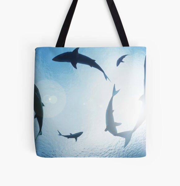 Sharks Circling All Over Print Tote Bag