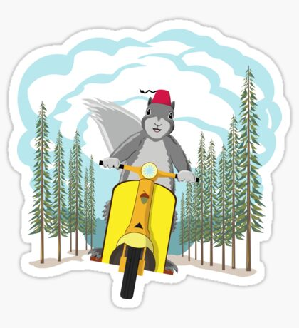 Squirrel on a Scooter Sticker