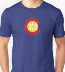 Hand Drawn Colorado Flag 303 Area Code Unisex T-Shirt