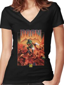 DOOM CLASSIC COVER Women's Fitted V-Neck T-Shirt