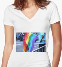 Gay Pride Women's Fitted V-Neck T-Shirt