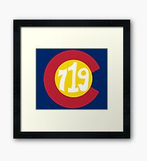 Hand Drawn Colorado Flag 719 Area Code Framed Print