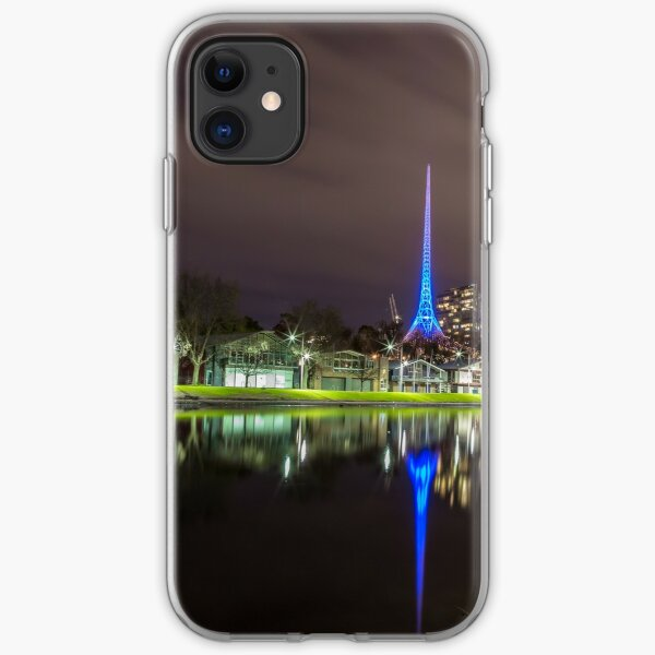 View of the Melbourne Rowing Sheds at night iPhone Soft Case