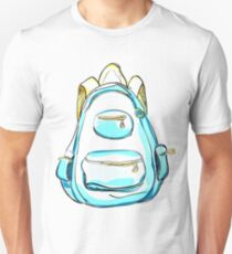 Hand drawn blue backpack. Unisex T-Shirt
