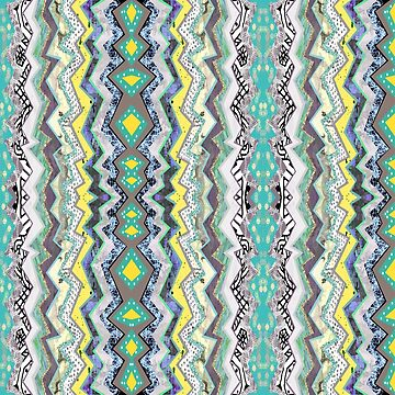 Teal Yellow White Midnight Aztec by homedeco