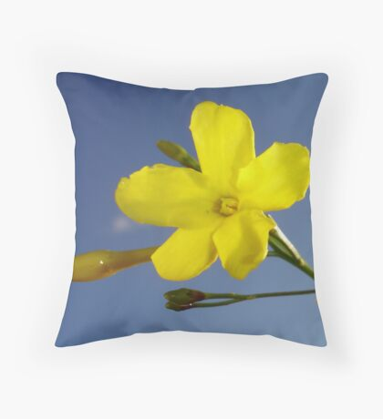 Yellow Jasmine Flower and Bud Against Blue Sky Throw Pillow