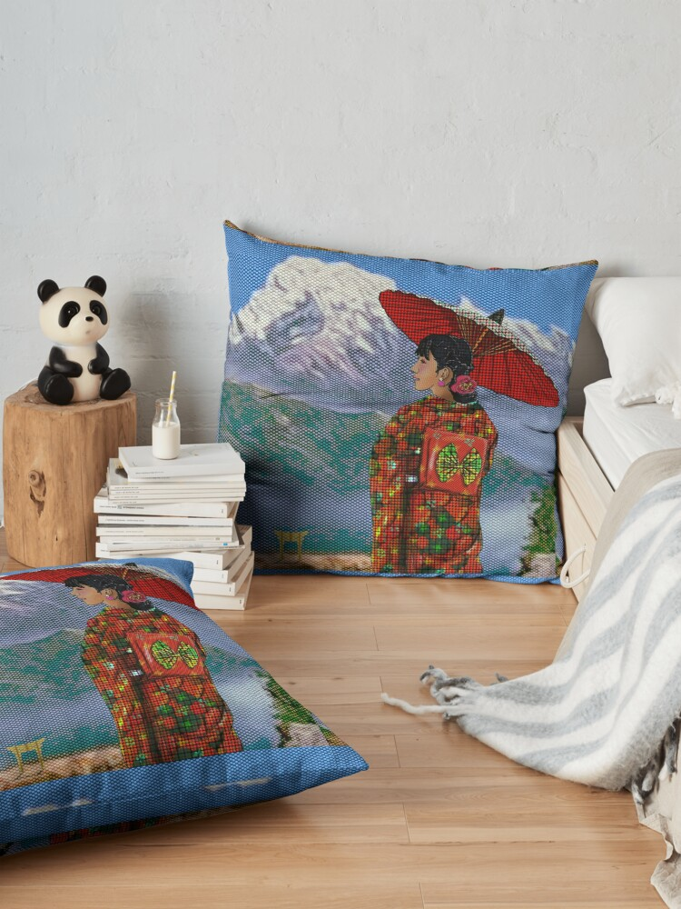 Alternate view of Japanese Woman 3 Floor Pillow