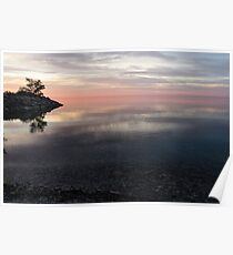 Silky Morning on the Lake - Pink and Purple Serenity Poster