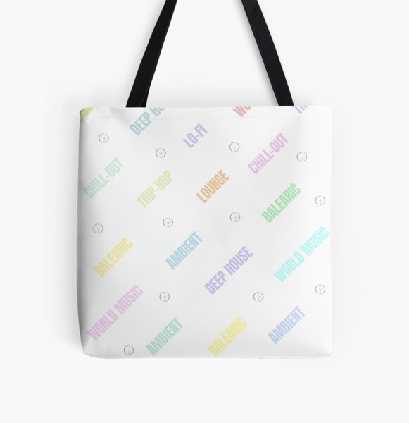 Lounge Deep House Balearic Chill-out Ambient World Music Trip-hop Lo-fi pastel colors All Over Print Tote Bag