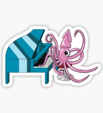Pink Squid Playing Piano Sticker