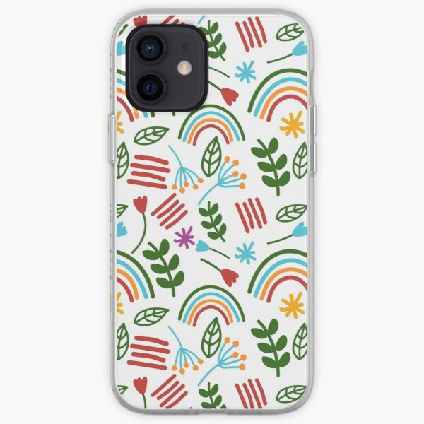 Rainbow Bright Rainbow and Floral Print  iPhone Soft Case