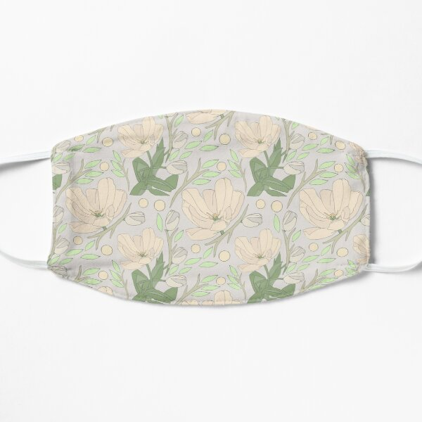 Lilies of the Garden Print on Cream Background Flat Mask