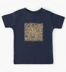 Gold Thread on White Abstract Kids Tee