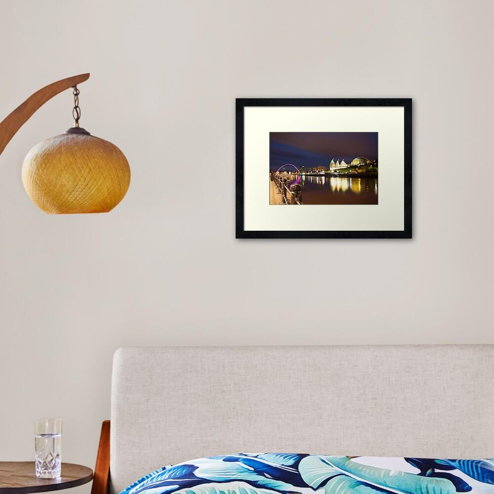 Newcastle-Gateshead, Millennium Bridge and Sage Centre at Dusk Framed Art Print