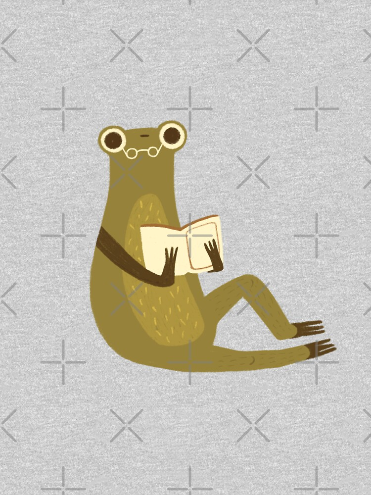 Cute frog with glasses reading a book by mikhaleeevich