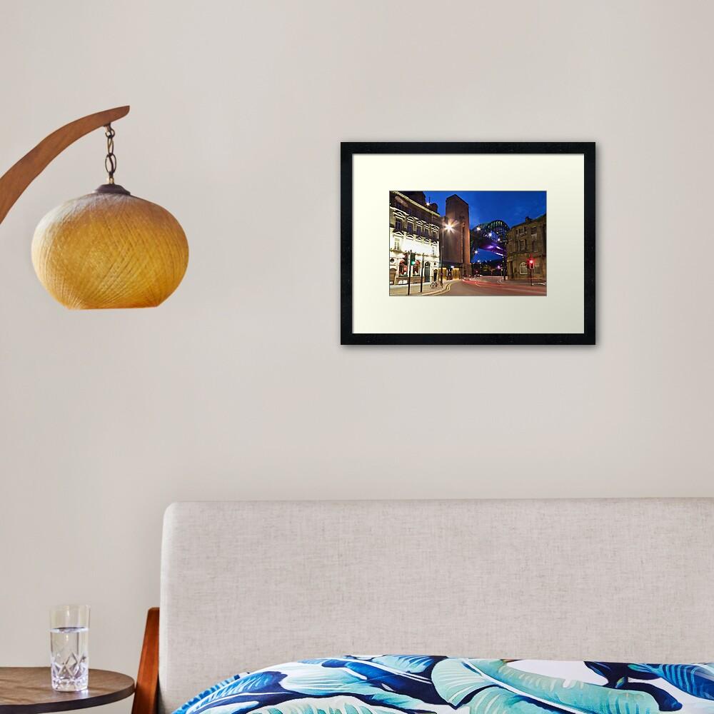Newcastle's Tyne Bridge and Quayside Framed Art Print