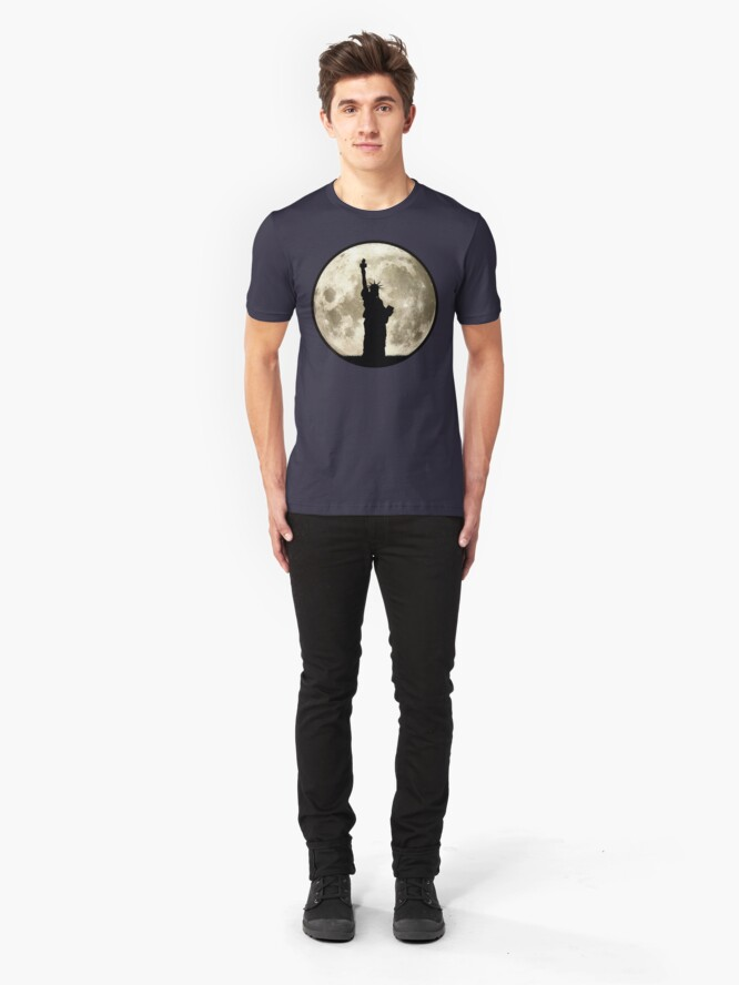 Alternate view of Full Moon Liberty Silhouette Slim Fit T-Shirt